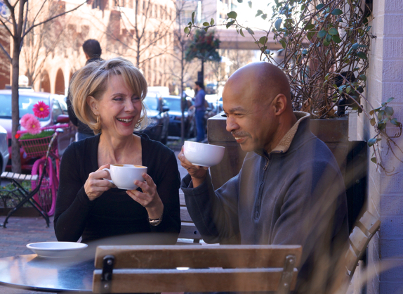 Katherine Tallmadge and Earl Williams Enjoying Lattes at Georgetown's Baked & Wired