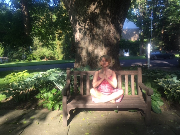 Katherine Tallmadge practicing Mindfulness Meditation in the Countryside